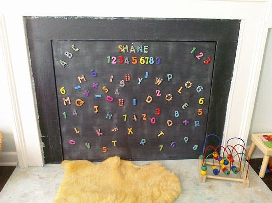 chalk board fireplace insert