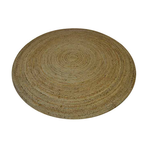 Image of round textured jute rug