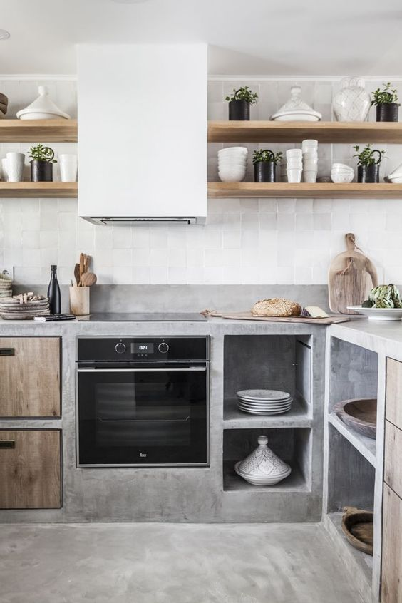 kitchen image with natural stone, concrete and timber materials