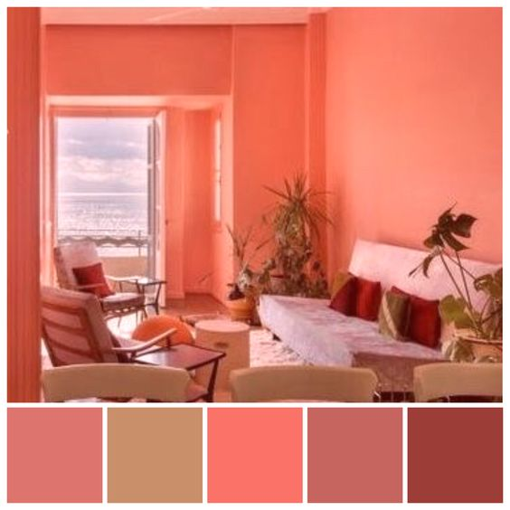 image of living area in coral colour palette