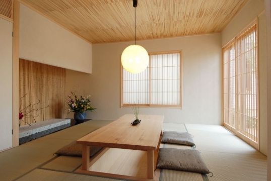 Japanese interior style - dining table and floor cushions