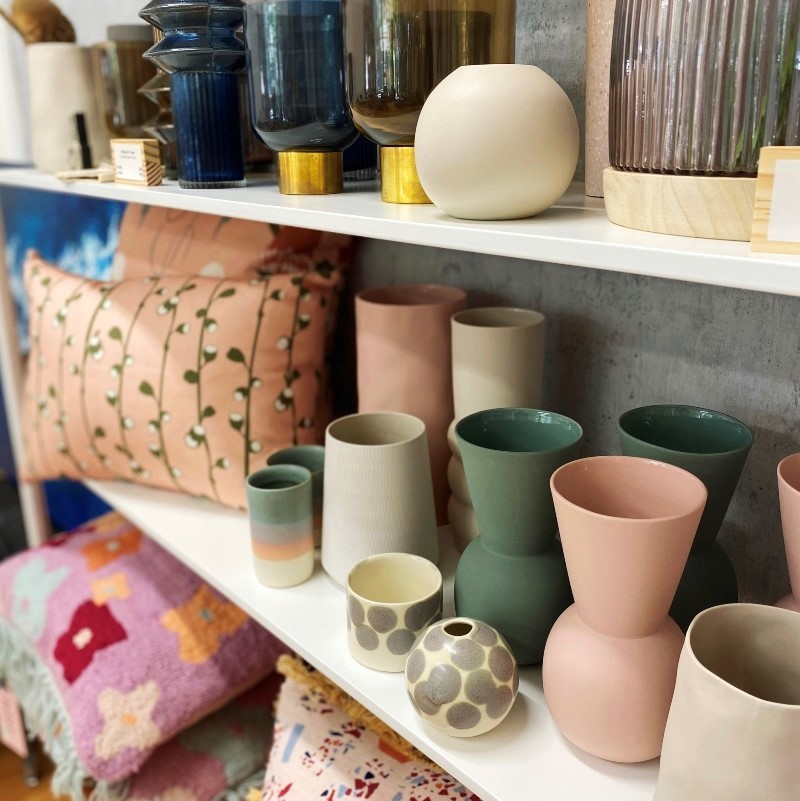 ceramics and cushions